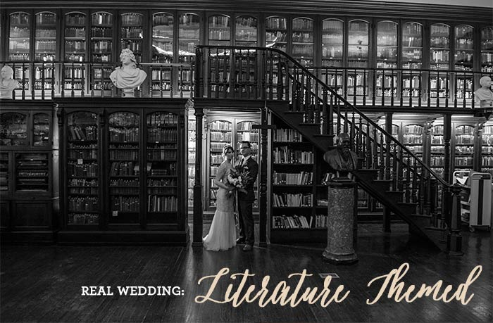 Literature Wedding. Real Wedding. Posted on Hand-Painted Weddings. Photos by Adam Atkinson.