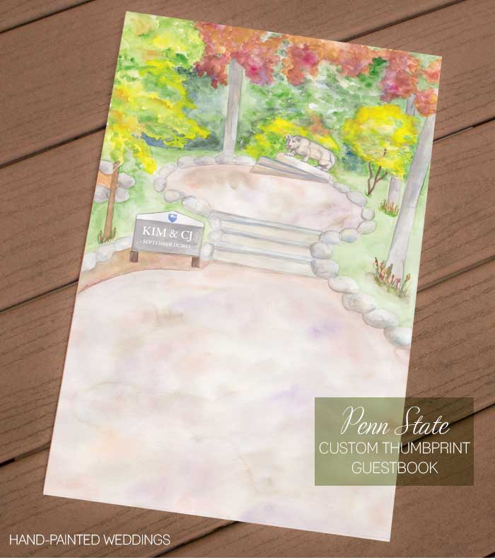 Penn State Thumbprint Guestbook by Hand-Painted Weddings