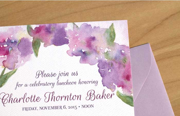Watercolor Flower Bridal Shower Invitation by Hand-Painted Weddings