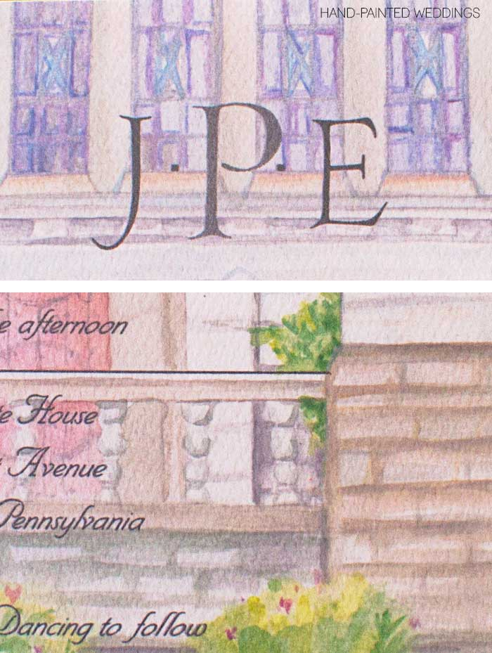 Custom Watercolor Gift - Painting of Merion Tribute House by Hand-Painted Weddings