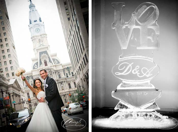Philly wedding LOVE ice sculpture