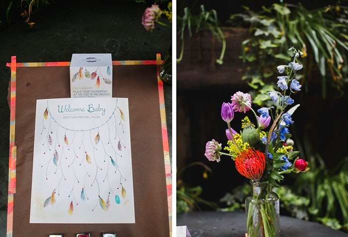Dreamcatcher Bridal shower. Custom thumbprint guestbook by Hand-Painted Weddings. Florals by Papertini. Photos by Love Me Do Photography. Planning by Truly You Events.