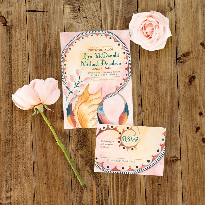 Art Nouveau Wedding Invitation - Hand-Painted Weddings