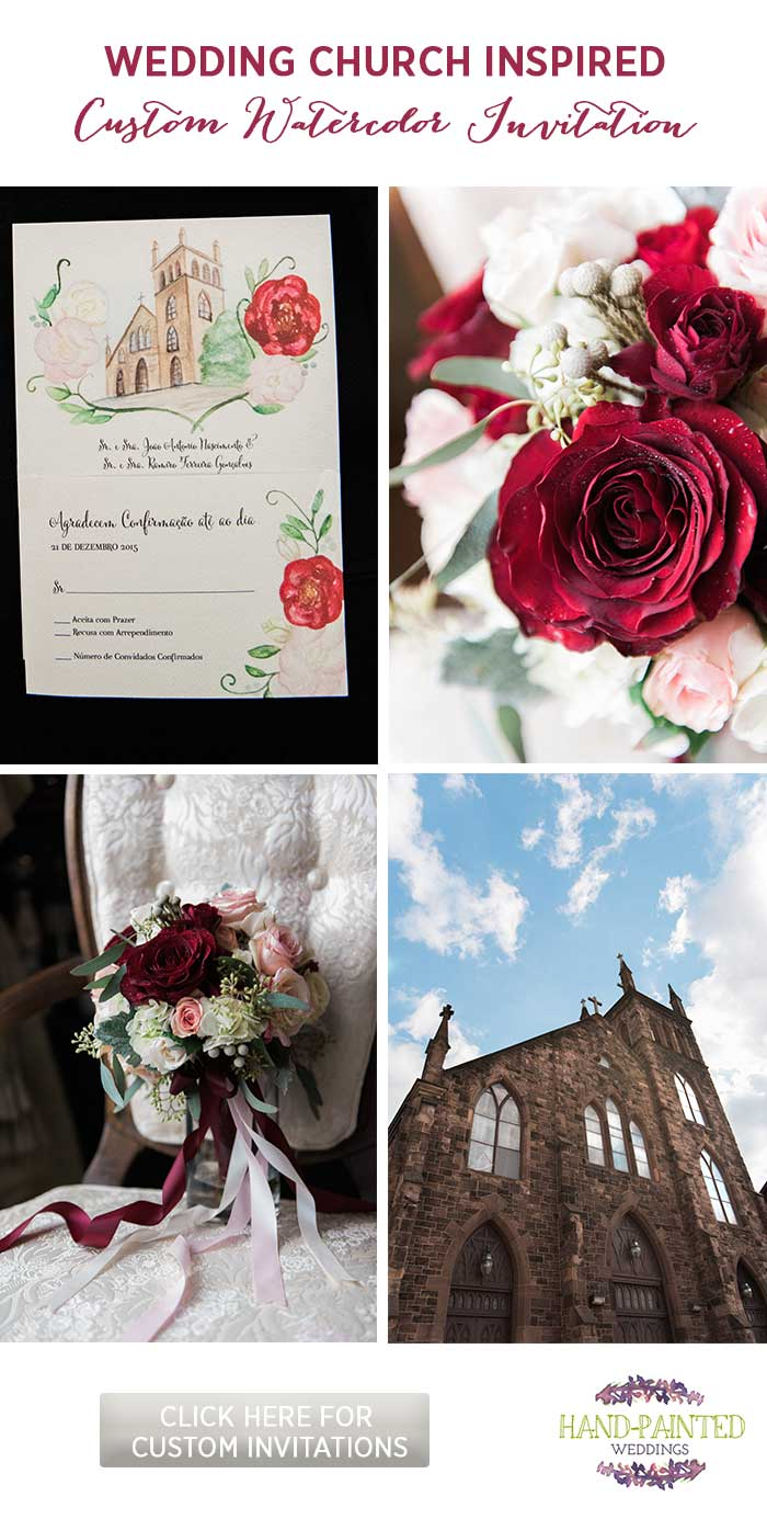 Watercolor Church Wedding Invitation by Hand-Painted Weddings. Photos by Predestined in Love.