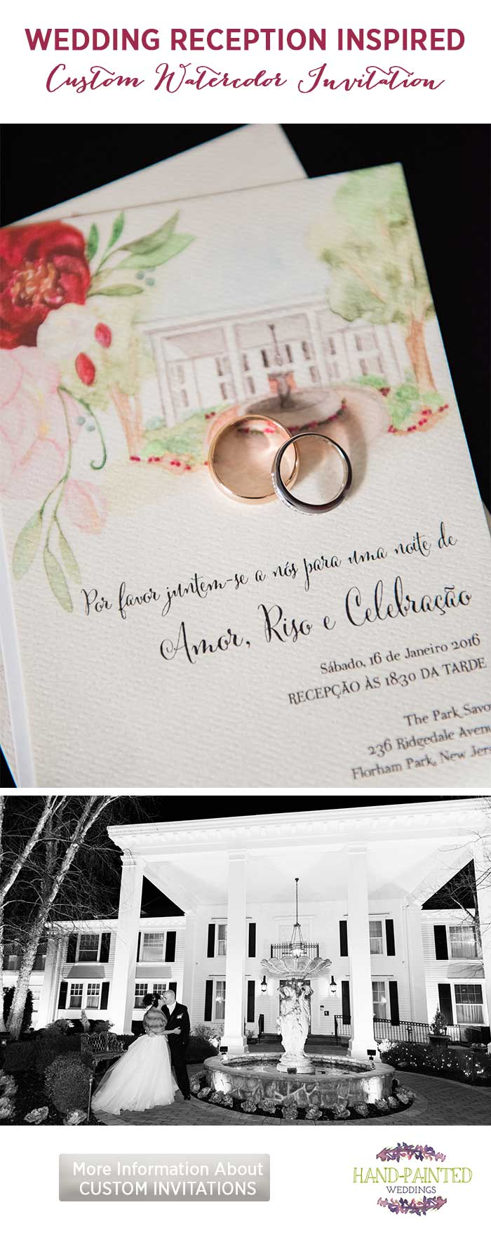 Wedding Reception Custom Watercolor Invitation by Hand-Painted Weddings
