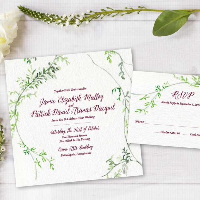 HandPainted Weddings Watercolor Wedding Invitations