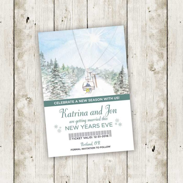 Ski Lift Wedding Invitation