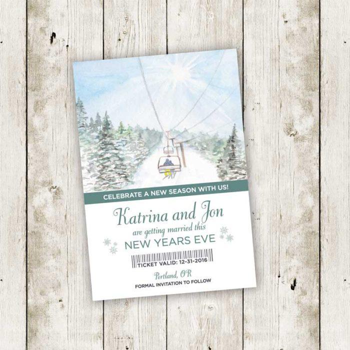 Ski Lift Wedding Invitation