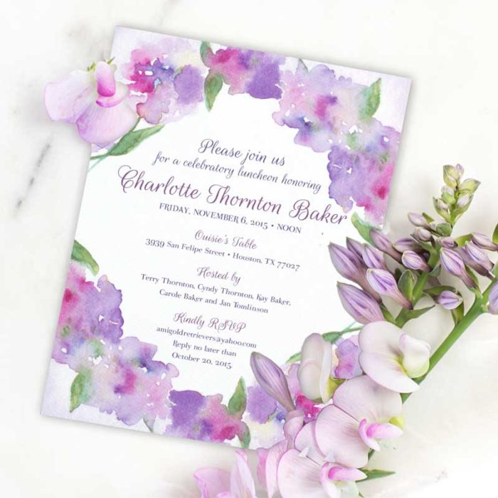 Purple Floral Watercolor Invitation