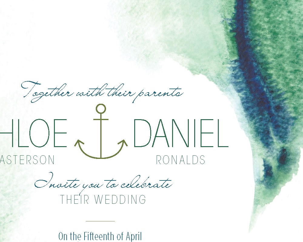 Modern Beach Wedding Invitation - Hand-Painted Weddings
