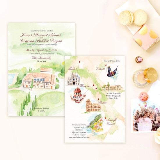 Destination Wedding Invitation in Italy
