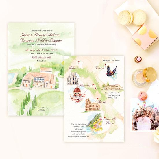 Destination Wedding Invitation in Italy