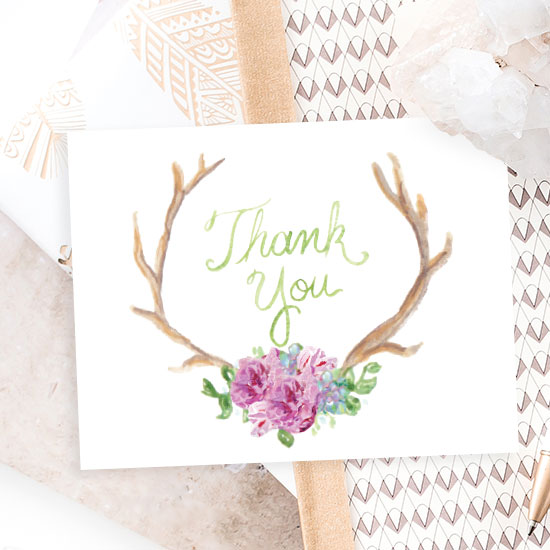 Boho Antler Thank You Card