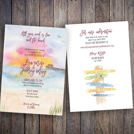Cocoa Beach Wedding Invitation
