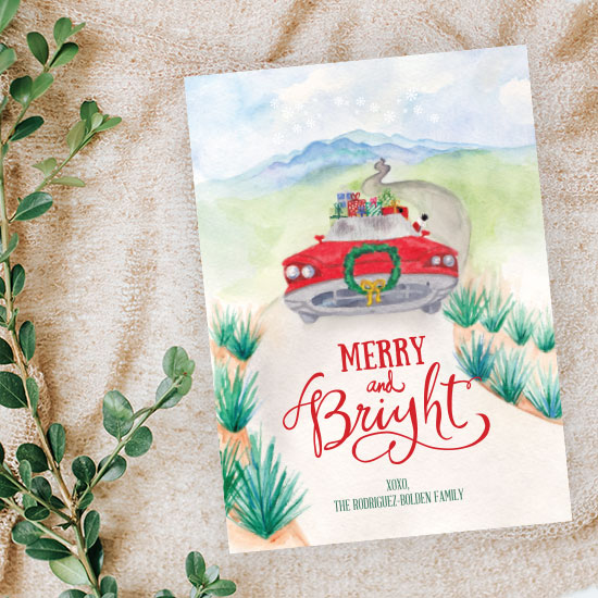 Vintage Car Christmas Card