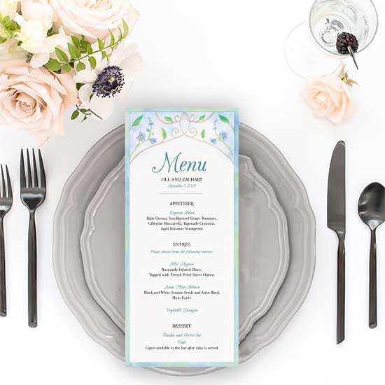 Storybook wedding menu
