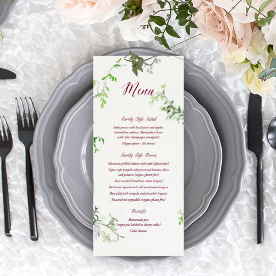 Natural Greenery Border Wedding Menu