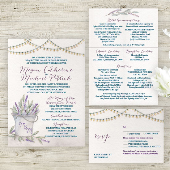 Rustic Lavender Wedding Invitation