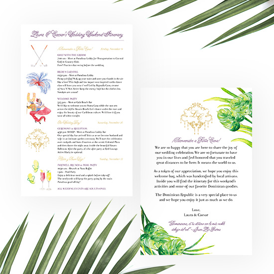 Destination Wedding Itinerary Cards for Punta Cana Wedding