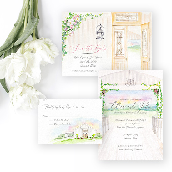 Grand Ivory Wedding in Texas Invitation