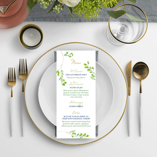 Lime Green Watercolor Wedding Menu