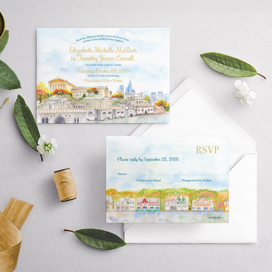 Philadelphia Boathouse Row Watercolor Wedding Invitation