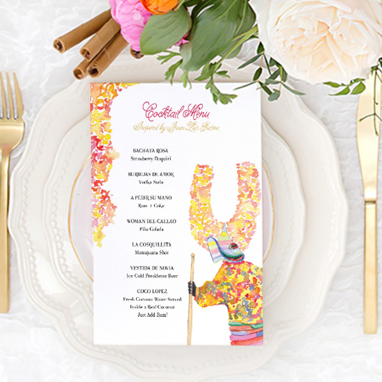 Punta Cana Watercolor Wedding Menus