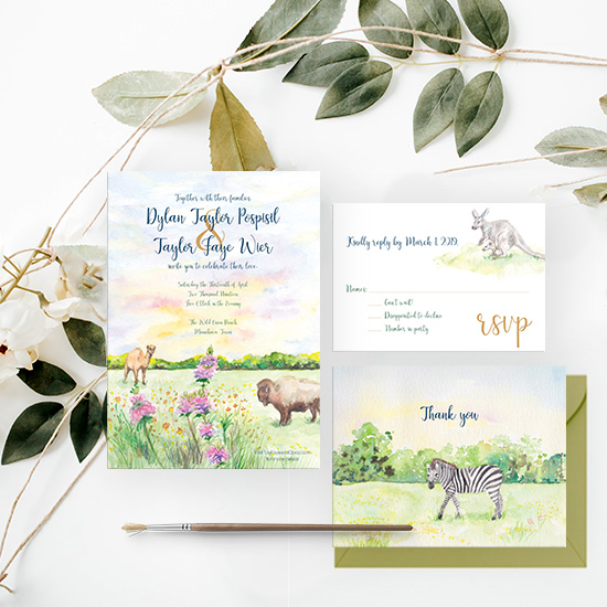 Zoo Wedding Watercolor Invitation Set