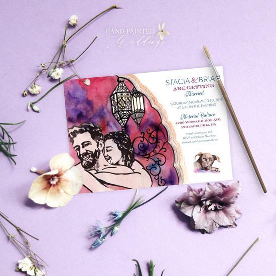 Moroccan Bohemian inspired wedding invitation